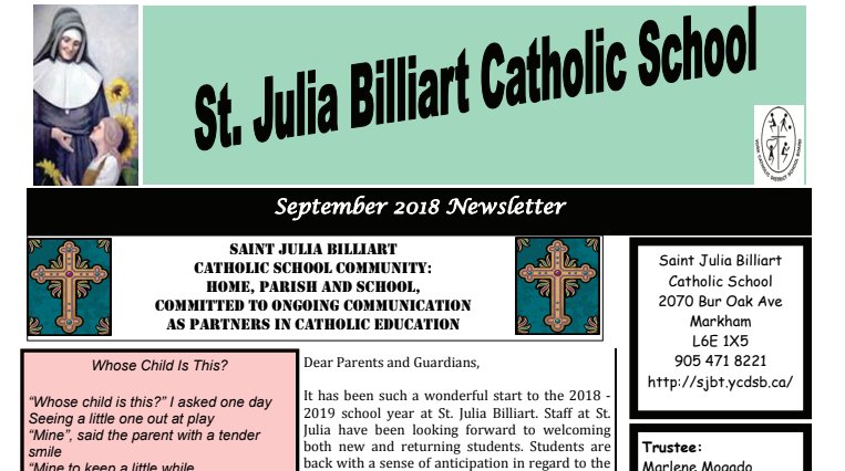 Extra! Extra! Read the St. Julia Newsletter!